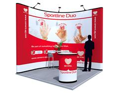 Multimedialer Messestand